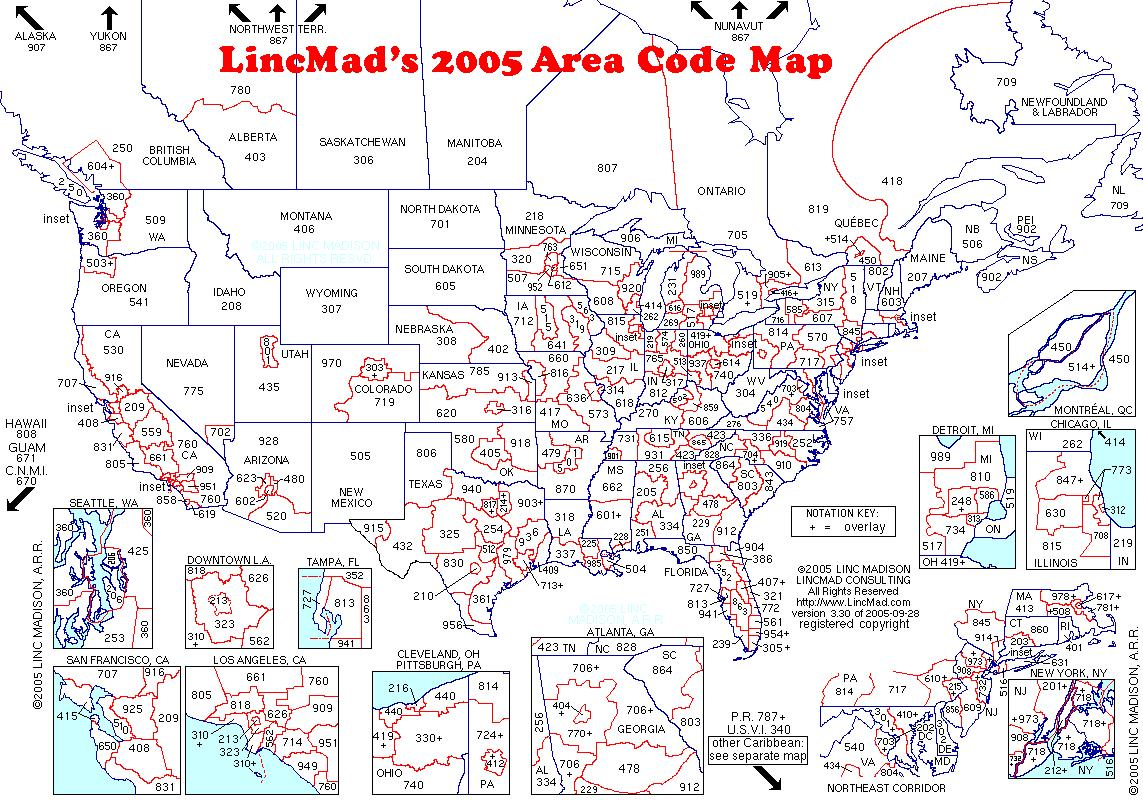 Us Area Codes Com - Us area code map printable